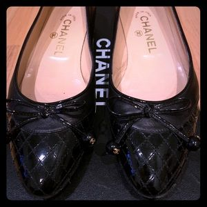 Chanel Quilted Patented and Lambskin Ballet